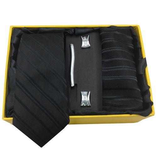ست کراوات، گیره، دستمال و دکمه سردست هکس ایران مدل AF-FUL SET-BLK KJR1