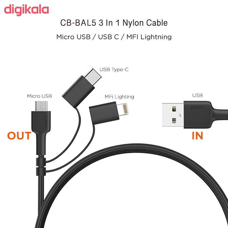 کابل تبدیل USB به لایتنینگ / USB-C / microUSB آکی مدل CB-BAL5 طول 1.2 متر main 1 1