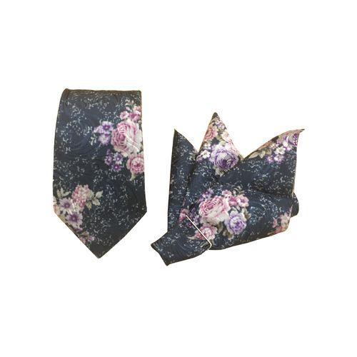 ست کراوات و دستمال جیب مدل KD-flower02