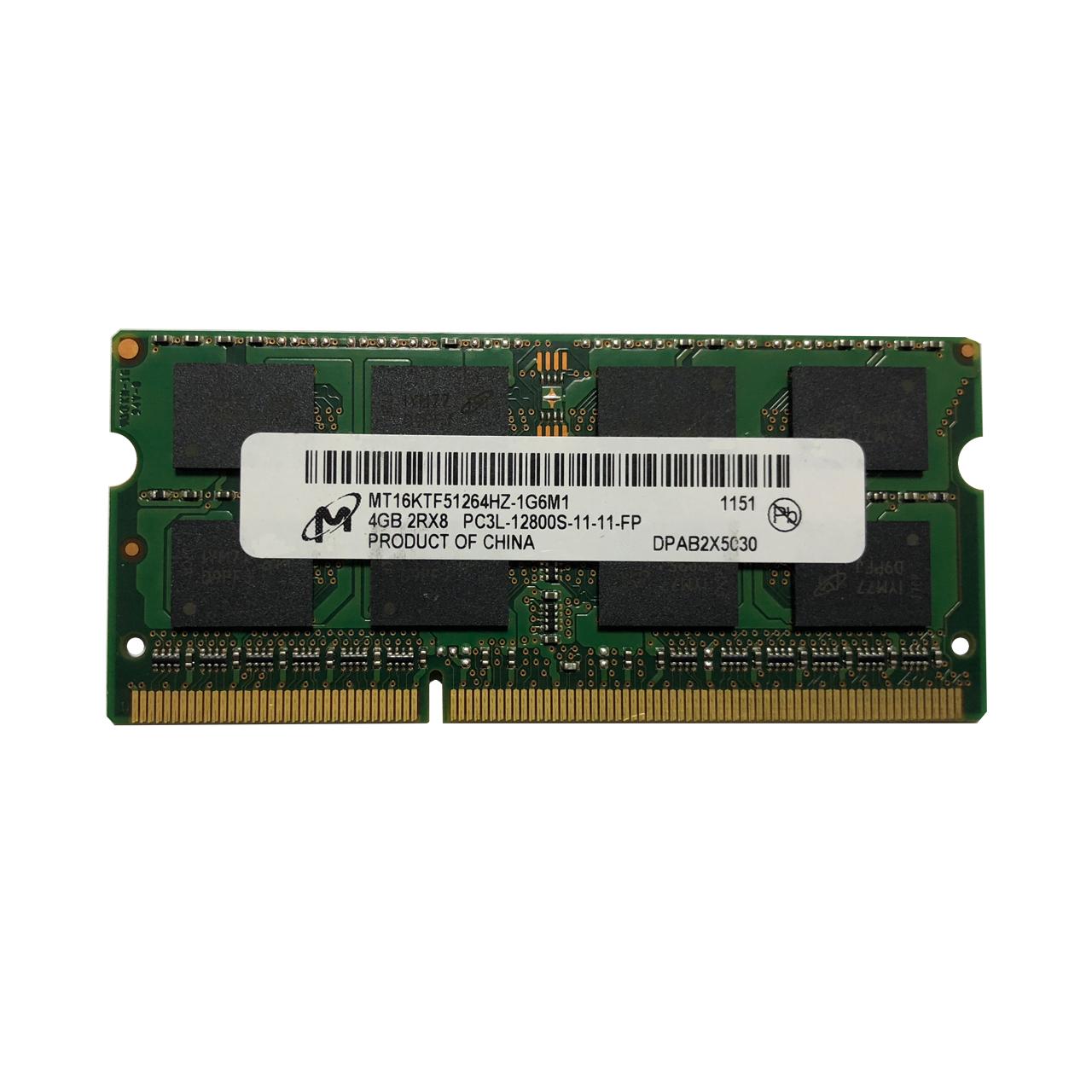رم لپ تاپ میکرون مدل 12800 DDR3lL PC3L 1600MHz ظرفیت 4 گیگابایت