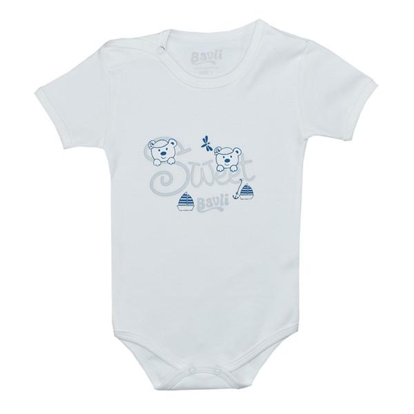 بادی آستین کوتاه نوزادی باولی مدل خرس و قایق