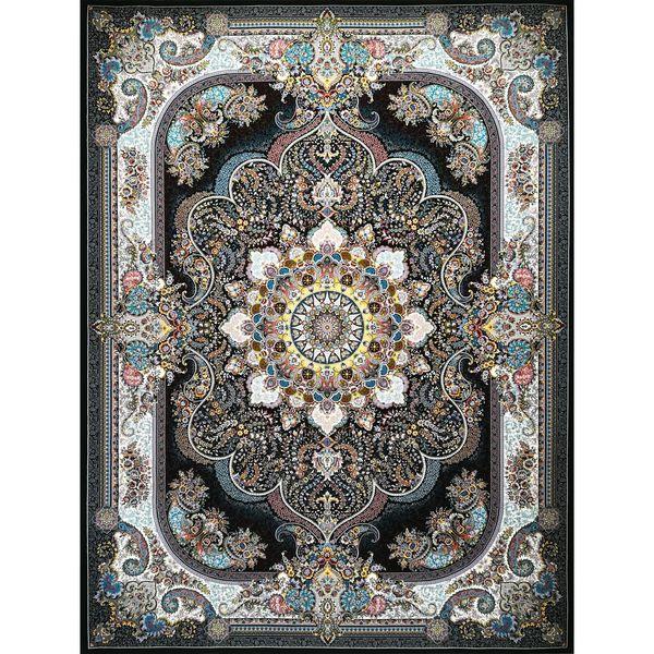 فرش ماشینی طرح نسترن کد fm 4 زمینه سرمه ای