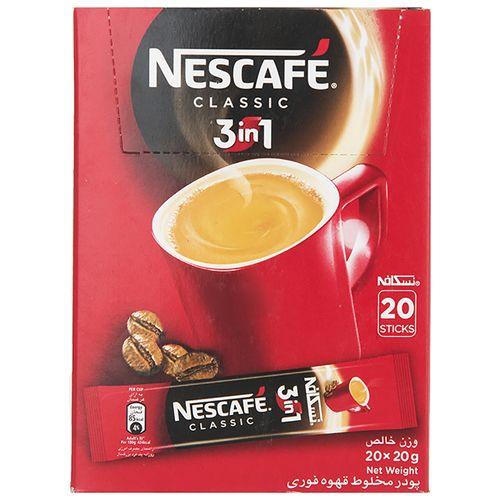 قهوه فوری کافی میکس نسکافه 3 در 1 بسته 20 عددی
