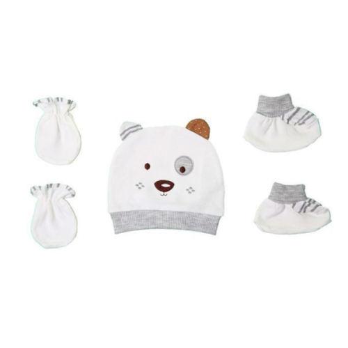 ست کلاه و دستکش و پاپوش نوزادی مدل Papo قهوه ای