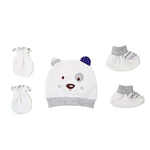 ست کلاه و دستکش و پاپوش نوزادی مدل Papo آبی