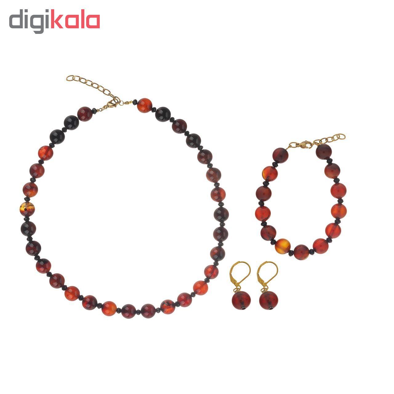 ست عقیق طبیعی شامل گردنبند دستبند و گوشواره مدل Z-851608