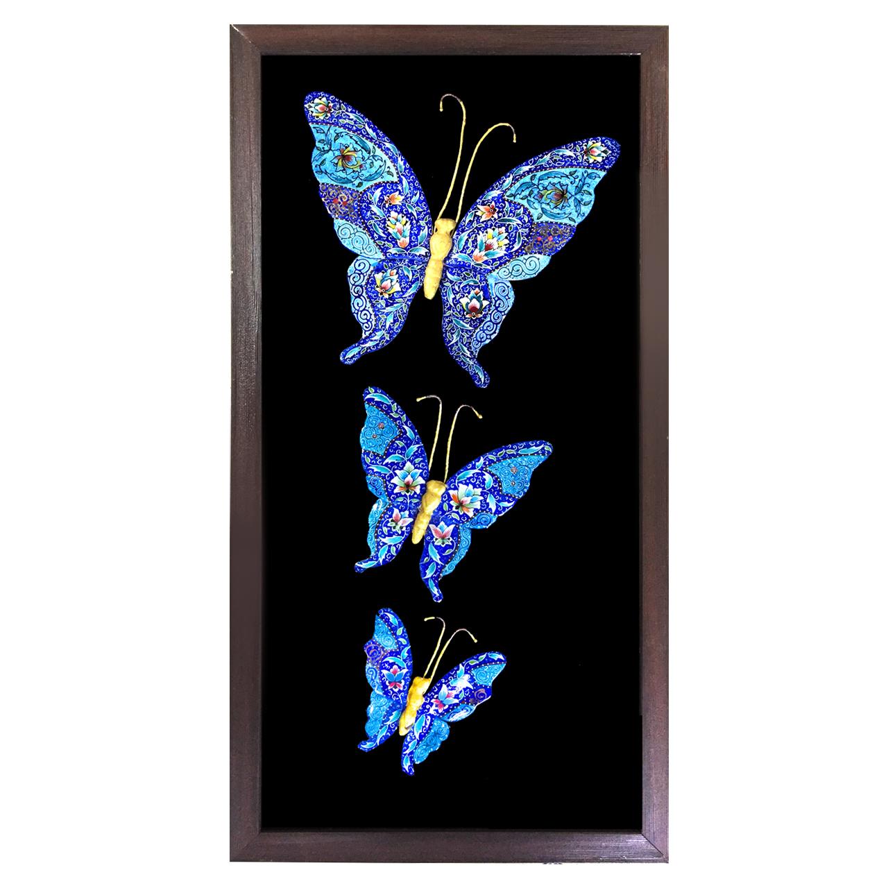 تابلو مسی میناکاری طرح پروانه های عاشق مدل 3D-3