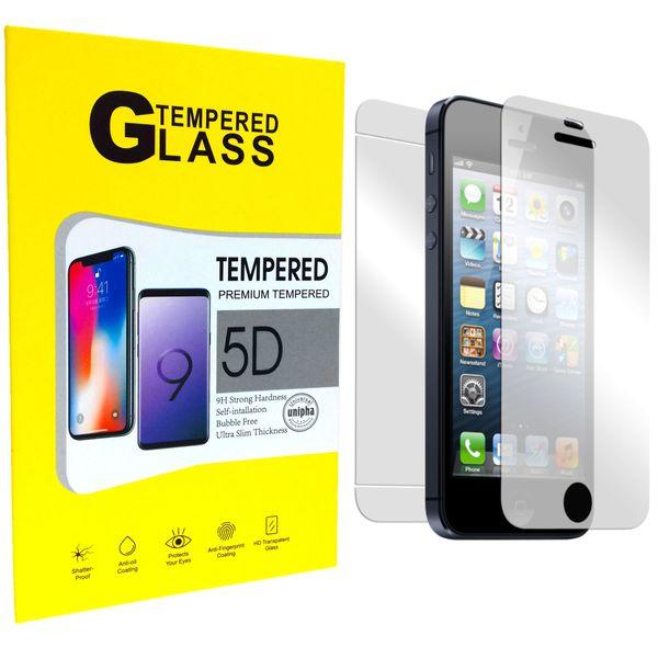 محافظ شیشه ای پشت و روی صفحه نمایش یونیفا گلس مدل Premium Tempered مناسب برای گوشی اپل آیفون iPhone 5/5c/se/5s