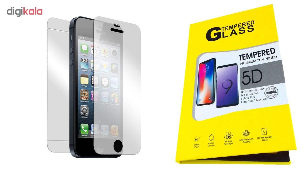 محافظ شیشه ای پشت و روی صفحه نمایش یونیفا گلس مدل Premium Tempered مناسب برای گوشی اپل آیفون iPhone 5/5c/se/5s main 1 2