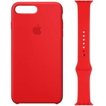 کاور سیلیکونی مدل 008 مناسب برای اپل آیفون 7/8 پلاس به همراه بند اپل واچ 42 میلیمتری
