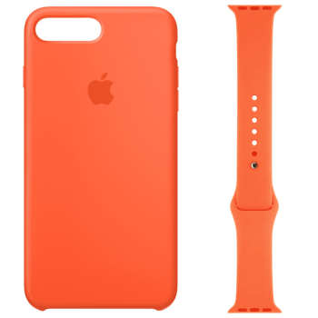 کاور سیلیکونی مدل 014 مناسب برای اپل آیفون 7/8 پلاس به همراه بند اپل واچ 38 میلیمتری