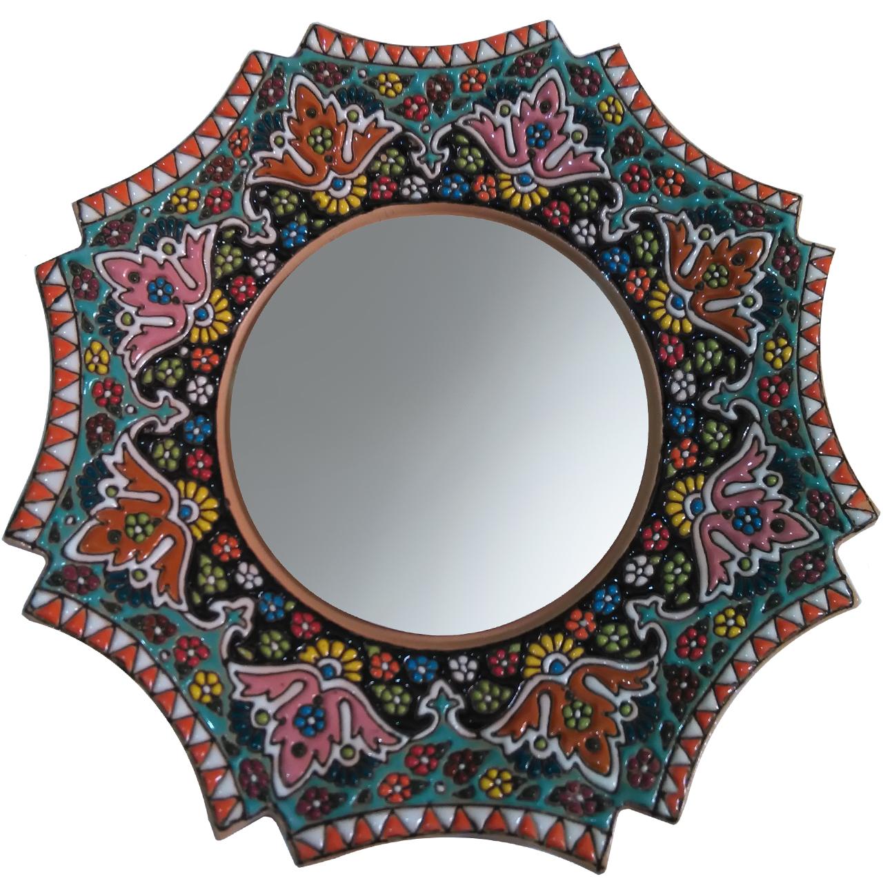 آینه سفالی طرح میناکاری قطر 25 سانتی متر کدp12