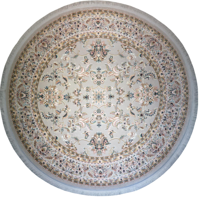 فرش ماشینی رادین اصفهان طرح گرد نفیس شاه عباسی آرامش رنگ زمینه طوسی