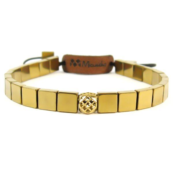 دستبند حدید و طلا 18عیار مانچو مدل bfg044