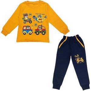 ست تی شرت و شلوار پسرانه مدل خرس و ماشین کد 3480 رنگ زرد