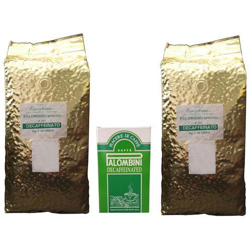 دانه قهوه پالومبینی مدل DECAFFEINATO بسته دو عددی به همراه پودر قهوه آسیاب شده