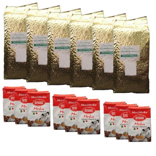 دانه قهوه پالومبینی مدل DECAFFEINATO بسته شش عددی به همراه پودر قهوه پالومبینی مدل MaciMOKA  بسته نه عددی