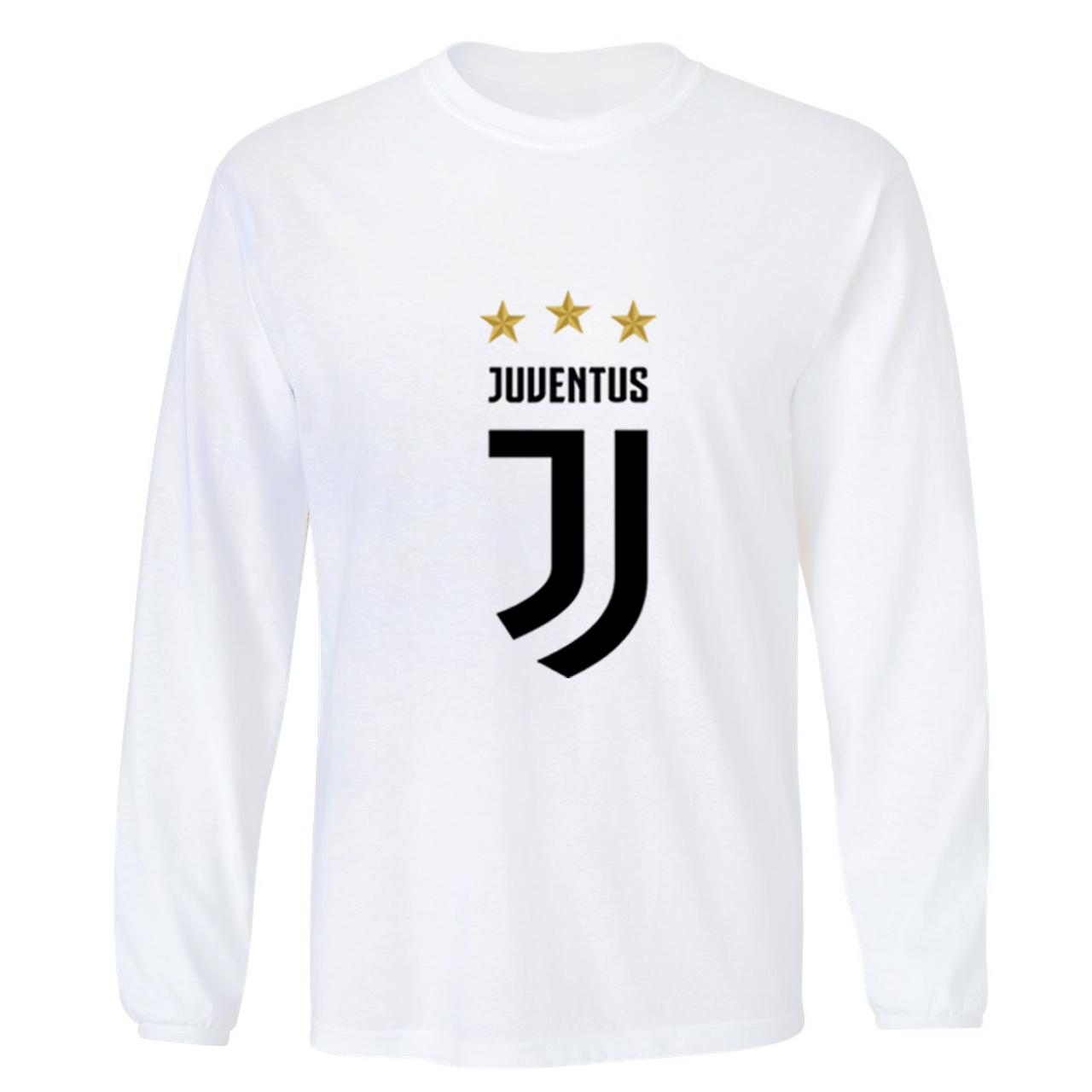 تی شرت آستین بلند ورزشی مردانه طرح لوگو یوونتوس کد juventus Clubs Logo 001M تیشرت