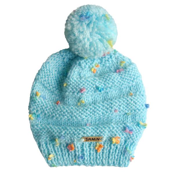 کلاه نوزادی ثمین مدل Flower رنگ آبی