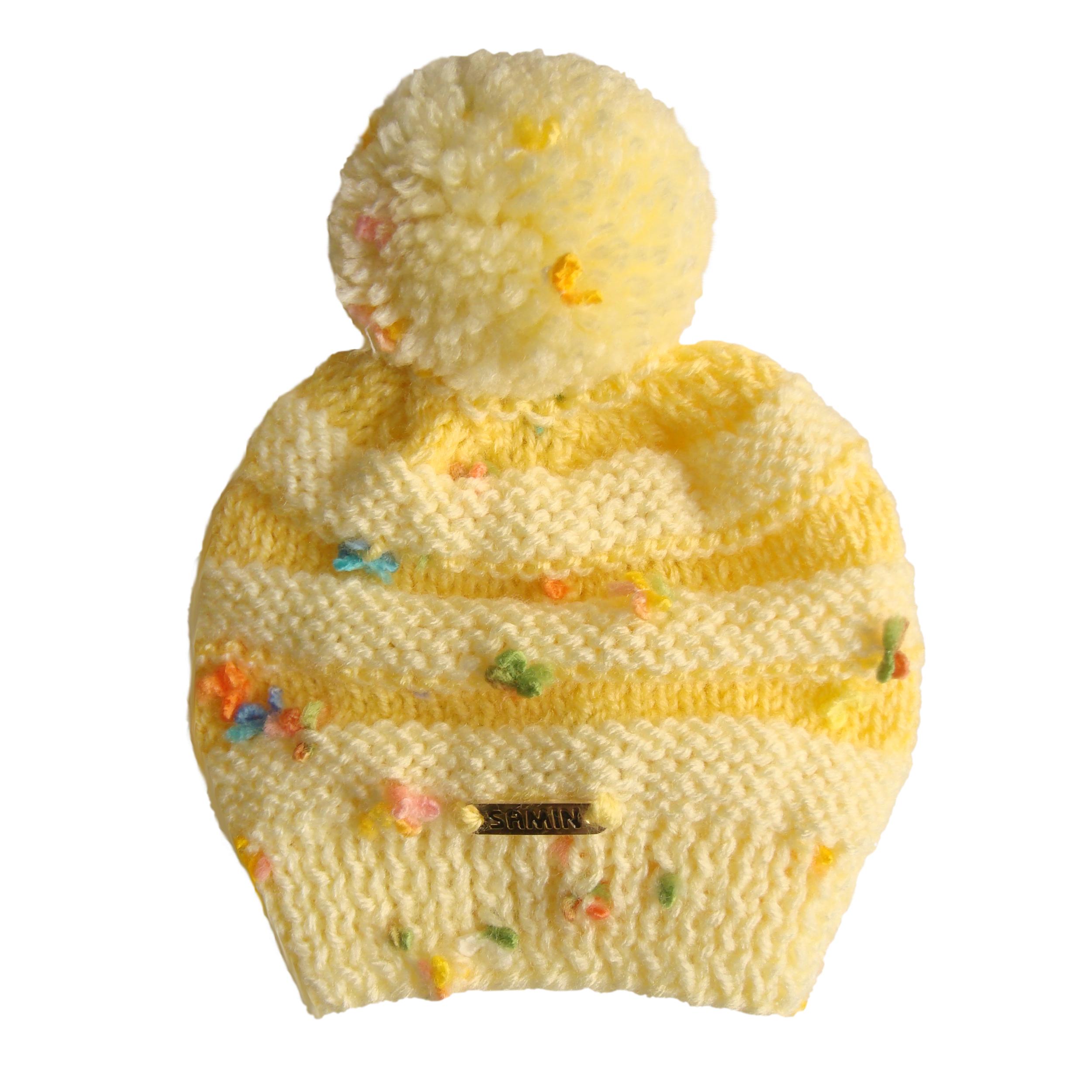 کلاه نوزادی ثمین مدل Flower رنگ زرد