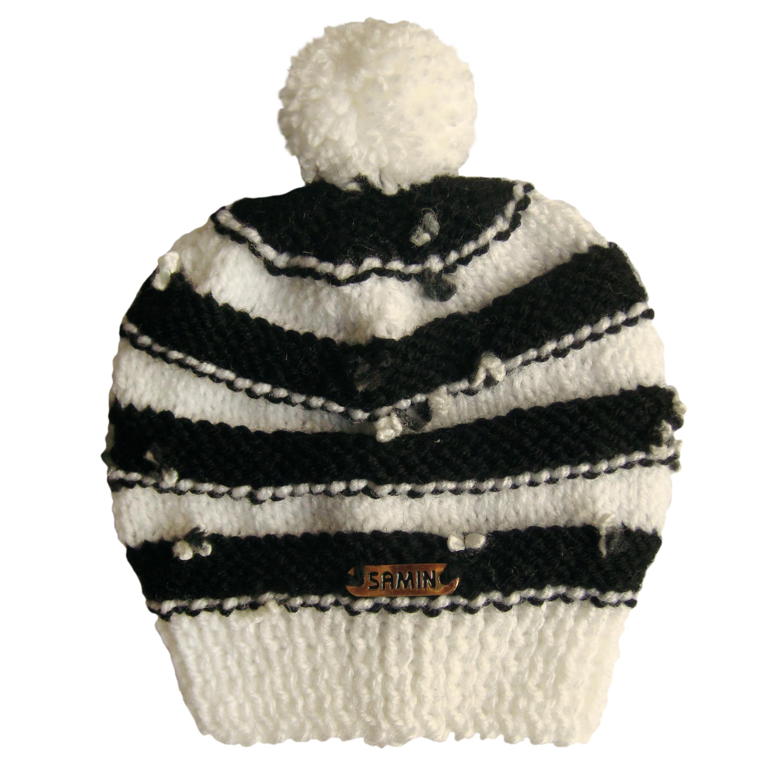 کلاه نوزادی ثمین مدل Flower رنگ سفید-مشکی