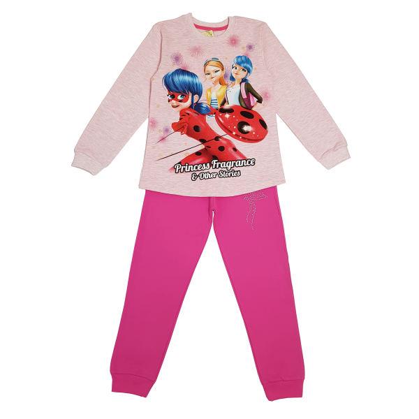 ست تی شرت و شلوار دخترانه مدل دختر کفشدوزکی کد 002 رنگ صورتی
