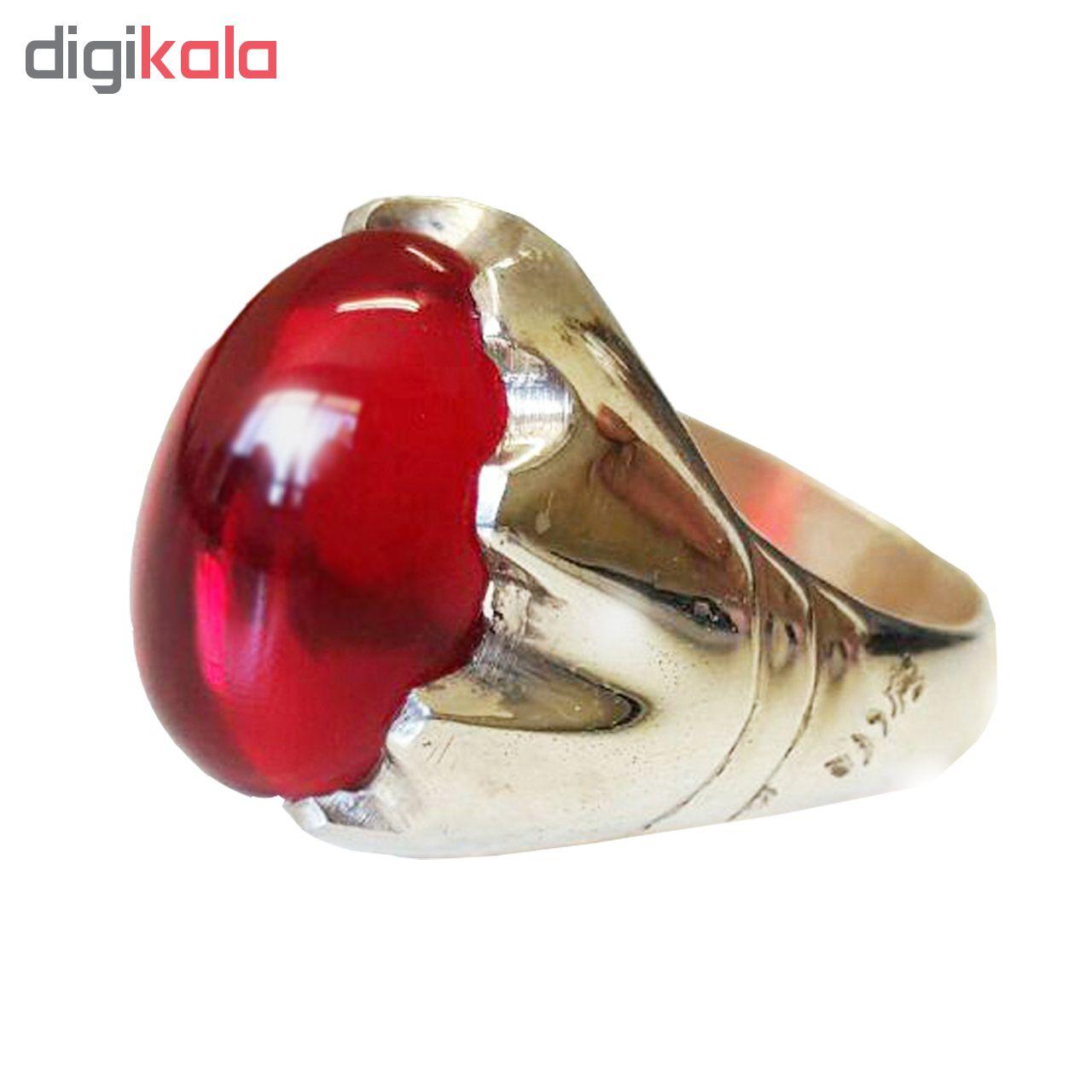 انگشتر نقره مردانه مدل یاقوت سرخ کد 11001