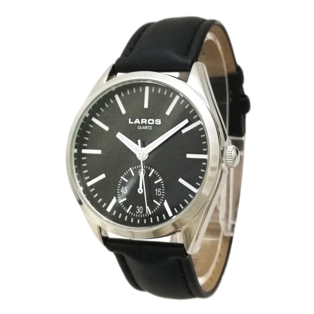 ساعت مچی عقربه ای مردانه لاروس مدل0916-79929-s به همراه دستمال مخصوص برند کلین واچ 54