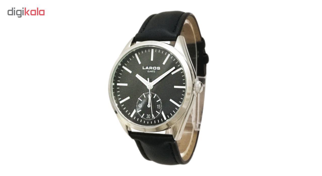 ساعت مچی عقربه ای مردانه لاروس مدل0916-79929-s به همراه دستمال مخصوص برند کلین واچ