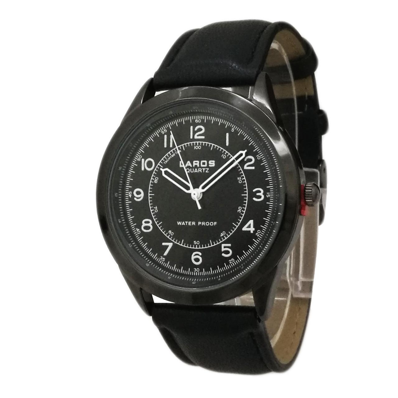 ساعت مچی عقربه ای مردانه لاروس مدل0817-80047-s به همراه دستمال مخصوص برند کلین واچ 43