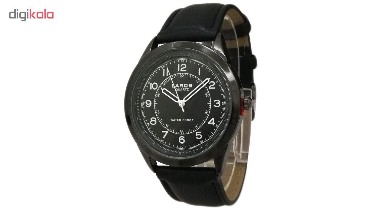 خرید ساعت مچی عقربه ای مردانه لاروس مدل0817-80047-s به همراه دستمال مخصوص برند کلین واچ