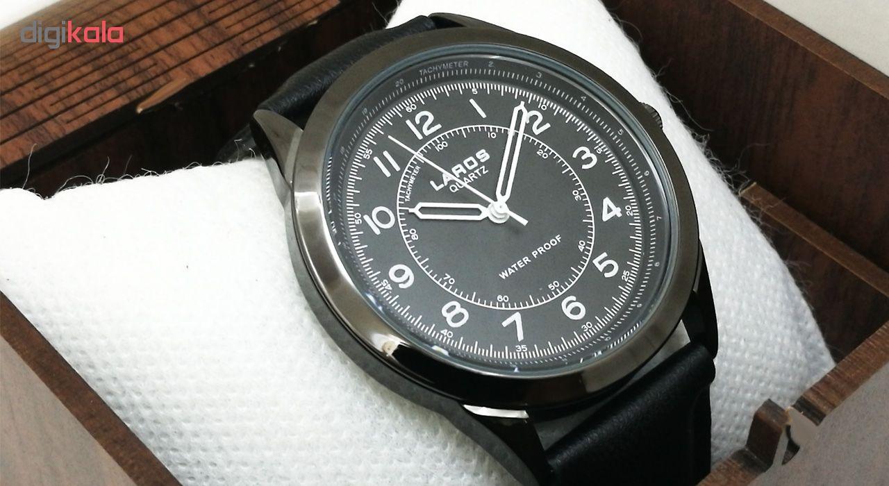ساعت مچی عقربه ای مردانه لاروس مدل0817-80047-s به همراه دستمال مخصوص برند کلین واچ