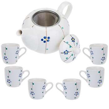 سرویس چای خوری 9 پارچه کوچک طرح گل سان مدل S001-F
