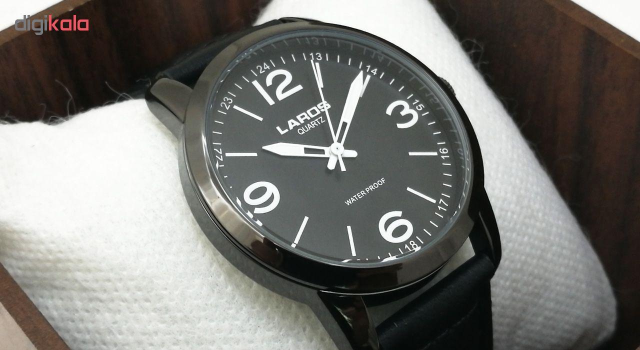 ساعت مچی عقربه ای مردانه لاروس مدل1117-80153-s به همراه دستمال مخصوص برند کلین واچ