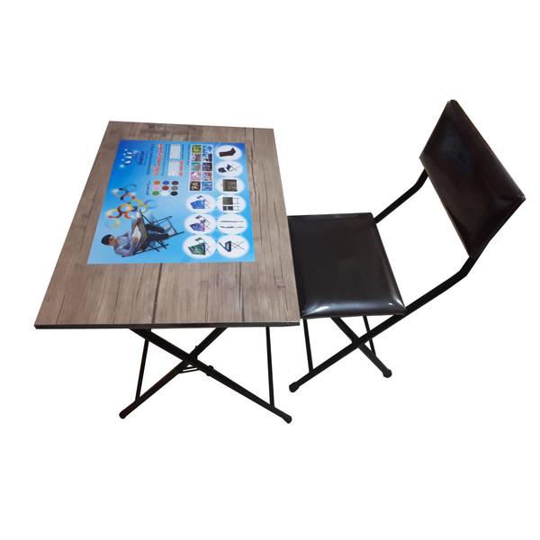میز و صندلی تاشو شهریار مدل آنتیک روشن