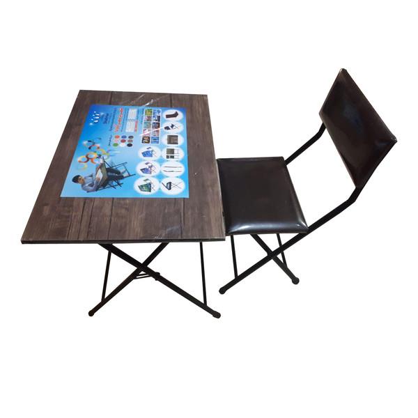 میز و صندلی تاشو شهریار مدل آنتیک تیره