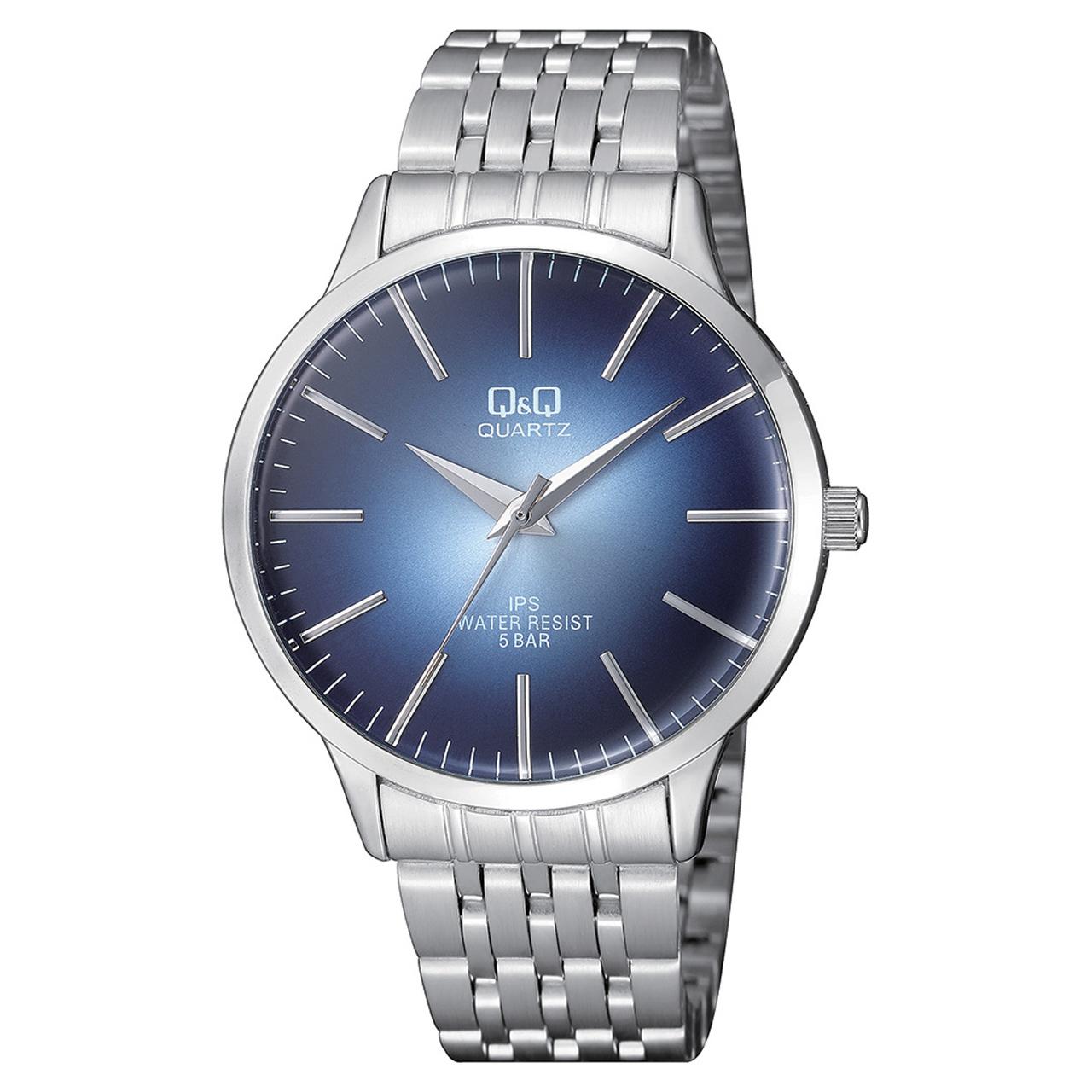 ساعت مچی عقربه ای مردانه کیو اند کیو مدلqz16j212y به همراه دستمال مخصوص برند کلین واچ 49