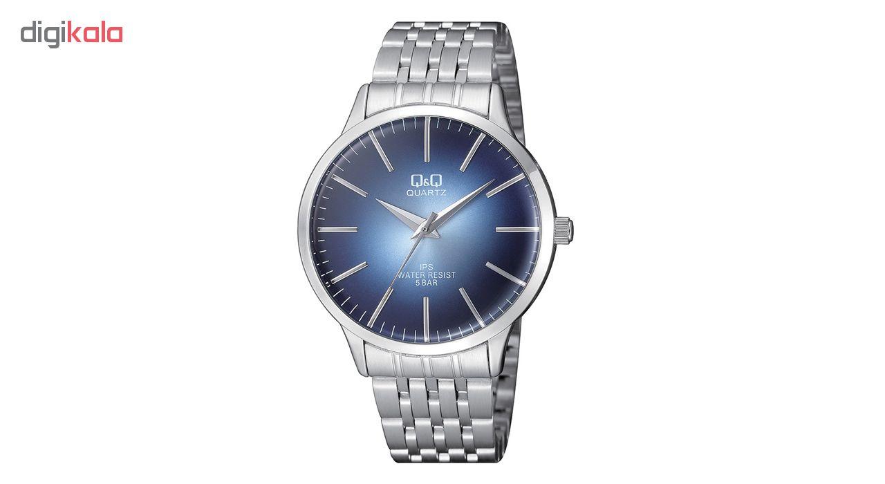 خرید ساعت مچی عقربه ای مردانه کیو اند کیو مدلqz16j212y به همراه دستمال مخصوص برند کلین واچ