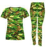 ست تی شرت و شلوار زنانه مدل ارتشی