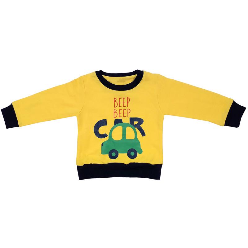 ست سویشرت و شلوار پسرانه طرح ماشین کد 3077 رنگ زرد