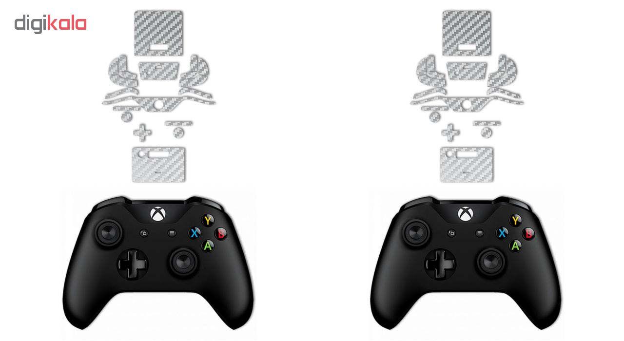برچسب پوششی ماهوت مدل Silver Carbon-fiber Texture مناسب برای کنسول بازی Xbox One X