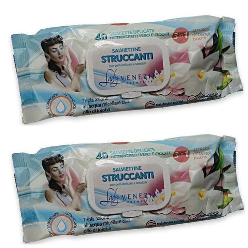 دستمال مرطوب پاک کننده آرایش لیدی ونیز مدل Struccanti دو بسته 40 عددی