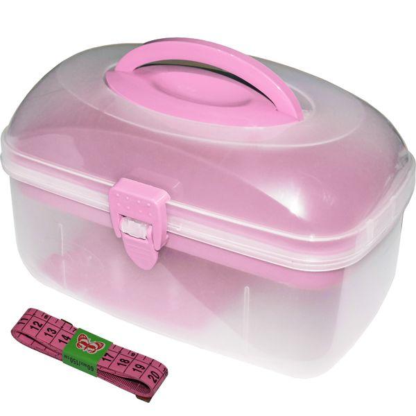 جعبه لوازم خیاطی ابتکار مدل Pink به همراه متر خیاطی