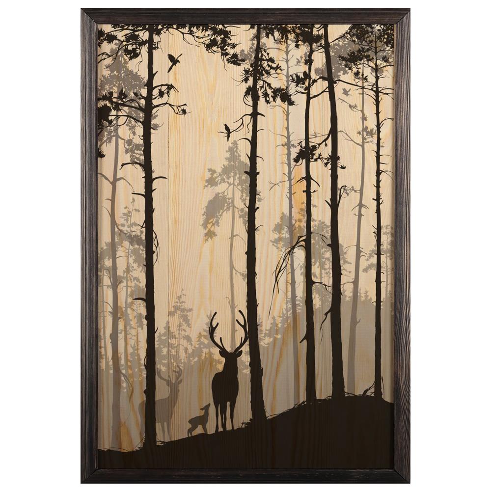 تابلو چوب آتینو مدل Deer Forest