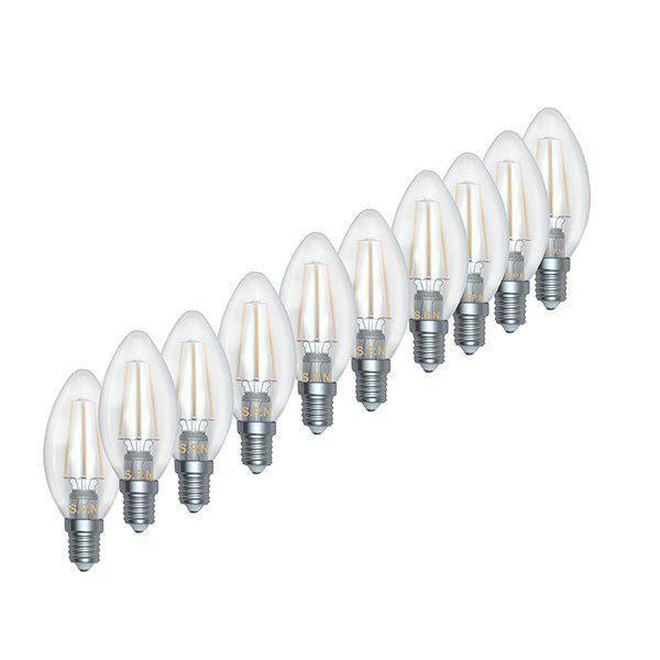 لامپ ال ای دی 4 وات اس پی ان مدل شمعی فیلامنت C35 پایه E14 بسته 10 عددی