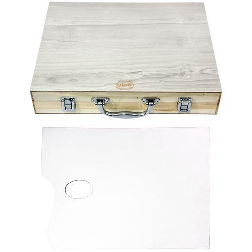 جعبه رنگ چوبی کامران مدل WoodenBox به همراه پالت رنگ