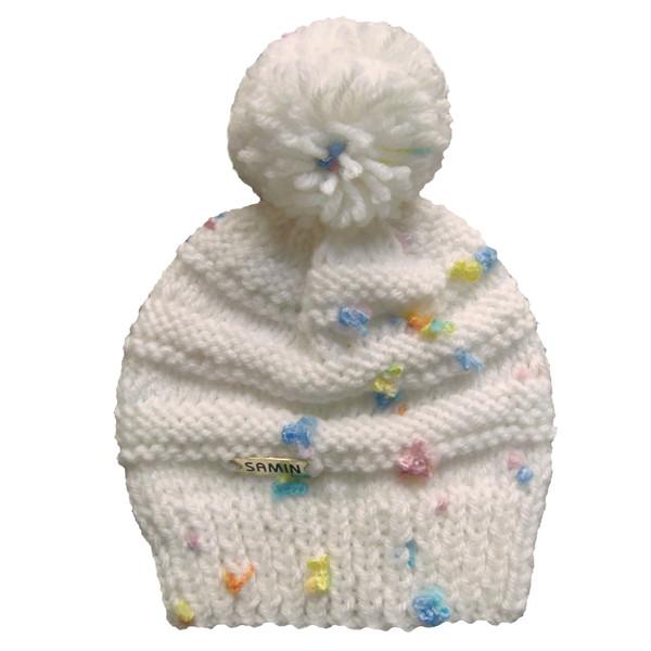 کلاه نوزادی ثمین مدل Flower رنگ سفید-صدفی
