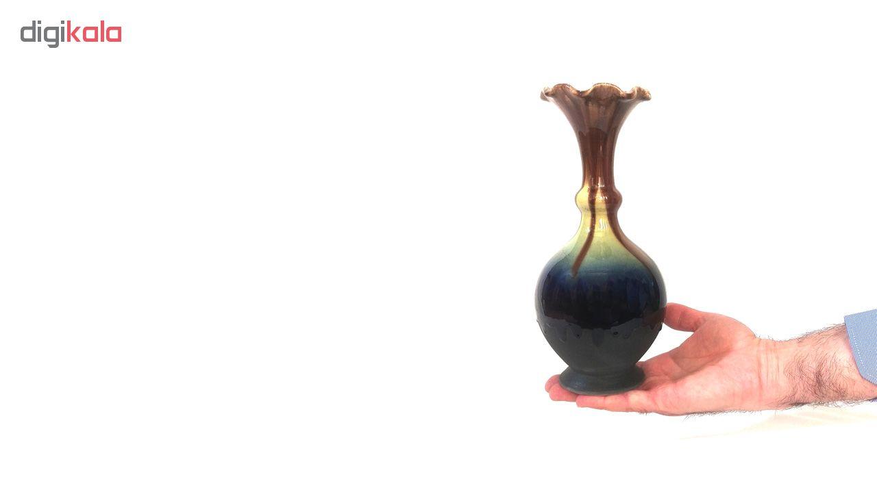 گلدان سفالی لوح هنر طرح لعاب شره ای کد 645