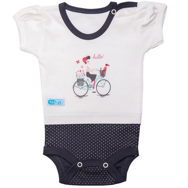 زیر دکمه دار آستین کوتاه تیک تاک طرح دوچرخه خالدار