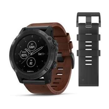 ساعت مچی هوشمند گارمین مدل Fenix 5x Plus Brown Leather Band به همراه بند سیلیکونی